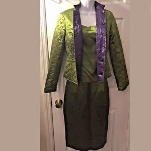 New WORTH 3 Piece Suit Silk Reversible Green Purpl
